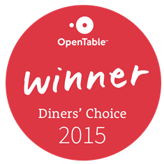 OpenTable Winner Diners' Choice 2015